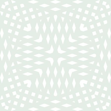 Abstract geometric seamless pattern. Wicker texture. Simple vector background with small shapes, crossing lines, rhombuses, grid, net, mesh. Light green and white color. Subtle minimalist design