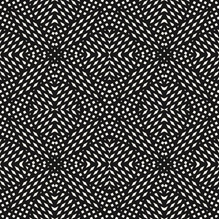 Black and white geometric seamless pattern. Abstract background with crossing diagonal lines, stripes, small elements. Vector monochrome texture. Modern repeat background. Design for decor, print