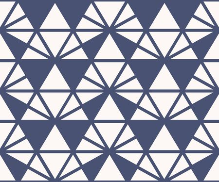 Triangle seamless pattern. Vector abstract geometric texture. Deep blue and white color. Simple minimalist graphic background with triangles, hexagonal grid, net, lattice. Minimal repeated design