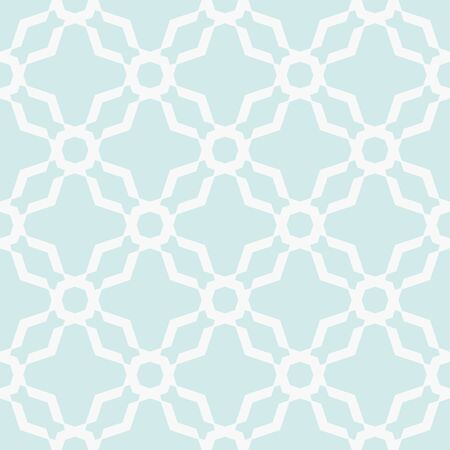 Abstract geometric seamless pattern. Subtle light green and white ornamental background. Simple minimal ornament with floral shapes, net, lattice, mesh, grid. Delicate repeat geo texture. Cute design Vector Illustratie