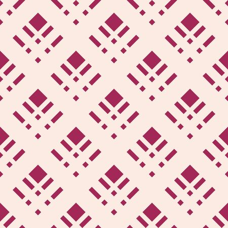 Square grid vector seamless pattern. Abstract geometric texture with rhombuses, mesh, lattice, grill. Simple burgundy and beige checkered background. Repeat design for decor, textile, cloth, wallpaper Illusztráció
