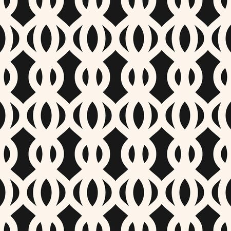 Vector mesh seamless pattern. Texture of net, lace, weaving, lattice, smooth grid, wavy shapes. Simple monochrome geometric background. Repeat design for tileable print, decor, fabric, wallpapers Illusztráció
