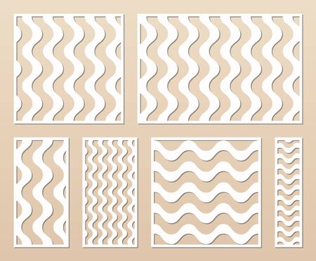 Laser cut template collection. Vector stencil with abstract geometric pattern, wavy lines, stripes. Swatch for laser cutting, wooden panel, metal, engraving, carving. Aspect ratio 1:1, 1:2, 3:2, 1:4