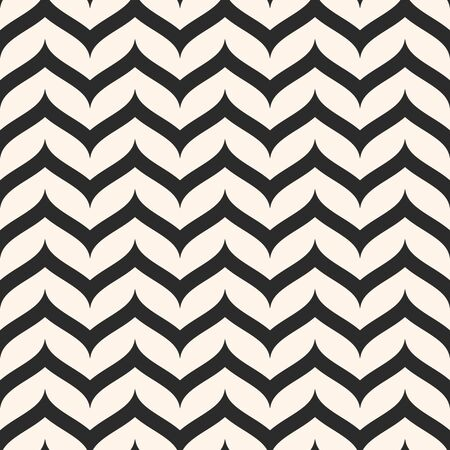 Vector seamless pattern, curly horizontal zig zag lines. Simple wavy stripes. Zigzag monochrome texture. Abstract repeat background. Design for prints, decor, package, textile, fabric, linens, cloth