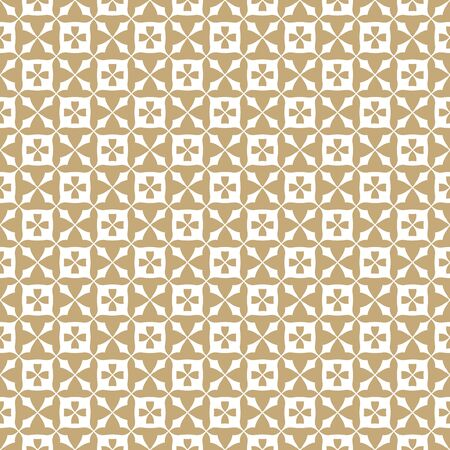 Abstract golden floral seamless pattern. Vintage geometric texture with flowers, squares, grid, lattice, repeat tiles. Vector white and gold background. Repeat design for decor, textile, fabric, cloth