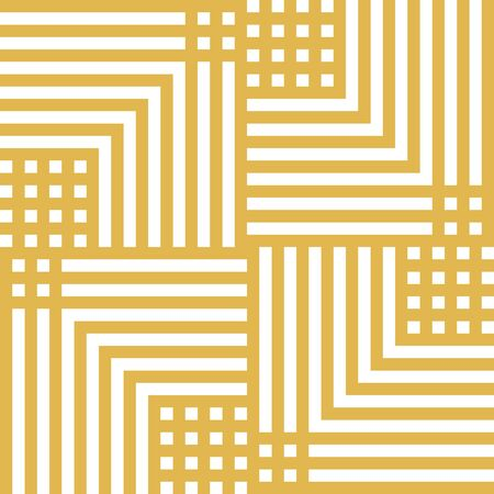 Vector geometric lines seamless pattern. Modern linear texture with squares, stripes, chevron, repeat tiles. Simple abstract linear geometry. Yellow and white graphic background. Repeatable design Ilustração
