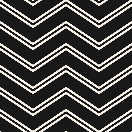 Vector chevron seamless pattern. Simple minimal texture with thin zigzag lines, stripes. Black and white zig zag abstract geometric background. Modern minimalist monochrome ornament. Repeated design