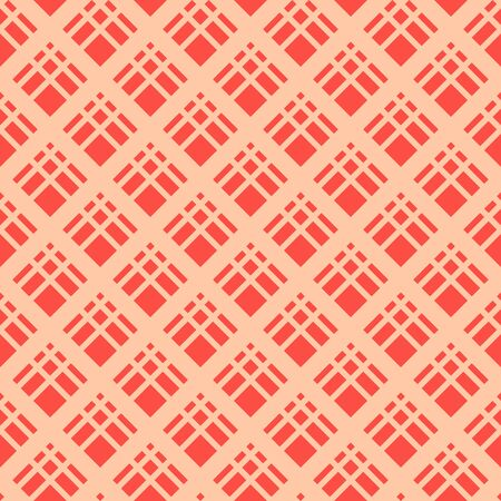 Square grid vector seamless pattern. Abstract colorful geometric texture with diagonal cross lines, rhombuses, diamonds, lattice, grill. Simple red and orange checkered background. Repeating design