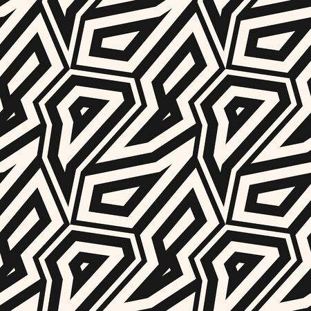 Black and white geometric seamless pattern. Vector abstract background with geometrical mosaic elements, angular shapes, broken lines. Simple monochrome repeat texture. Design for decoration, print