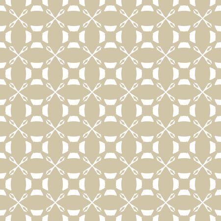 Vector golden ornament pattern in Arabian style. White and gold elegant floral seamless texture with curved geometric shapes, crosses, circles, grid, lattice. Abstract repeat ornamental background