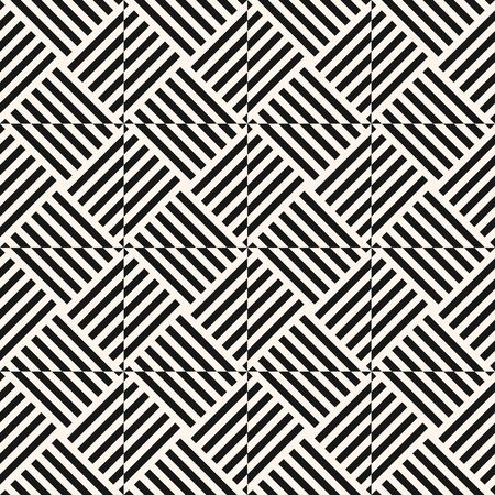 Modern monochrome linear geometric seamless pattern. Optical art ornament. Simple abstract geo texture with diagonal lines, squares, triangles, repeat tiles. Stylish black and white background