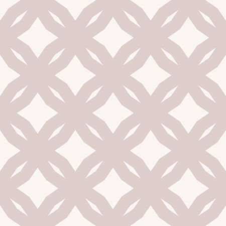 Vector abstract floral seamless pattern. Diamond grid ornament. Subtle beige ornamental background. Simple geometric texture with rhombuses, tiles, net, mesh, lattice. Delicate repeat graphic design