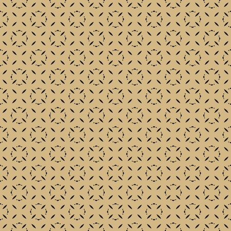 Subtle golden vector seamless pattern with small flower silhouettes, geometric leaves. Simple minimal luxury background. Abstract black and gold ornate texture. Elegant ornament. Minimalist design