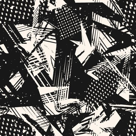 Abstract monochrome grunge seamless pattern. Urban art texture with paint splashes, chaotic shapes, lines, dots, triangles, spots. Black and white graffiti style vector background. Repeating design Ilustração Vetorial