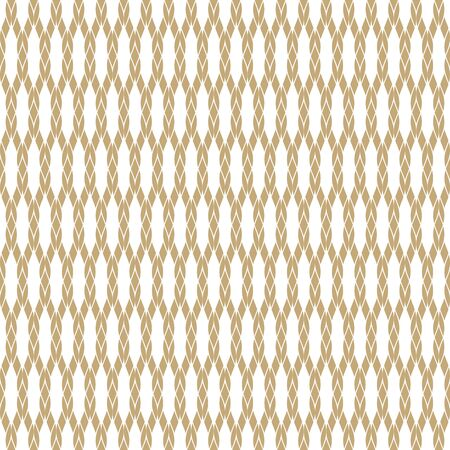 Vector golden rope seamless pattern. White and gold geometric nautical texture with mesh, fishnet, weave, knitting, grid, lattice, fabric. Simple abstract repeat background. Elegant decorative design Vector Illustratie