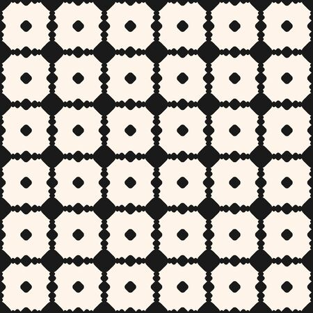 Vector geometric seamless pattern with circles, dots, carved lattice, intersecting lines, square grid. Ornamental texture. Abstract monochrome background, repeat tiles. Design for decor, wallpapers