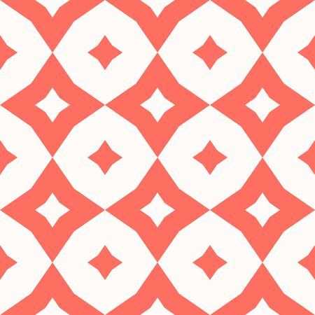 Diamond pattern. Vector abstract floral seamless texture. Coral and white colored geometric ornament with rhombuses, flower silhouettes, stars, grid, net, repeat tiles. Elegant repeated graphic design Vectores