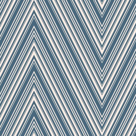 Chevron seamless pattern. Vector texture with thin diagonal lines, stripes, zigzag. Blue and beige abstract geometric background. Simple zig zag ornament. Repeat design for decor, textile, furniture