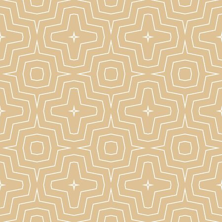 Vector geometric seamless pattern. Simple golden texture with thin concentric zig zag lines, stripes, chevron, repeat tiles. Modern abstract geometry. Subtle gold and white background. Elegant design