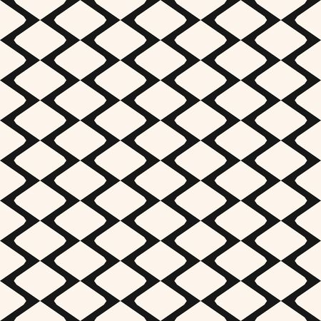 Diamonds seamless pattern. Vector rhombuses geometric texture. Simple abstract monochrome background with intersecting lines, lattice, mesh, grid, net, fence, wire. Black and white repeatable design Ilustração Vetorial