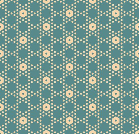 Hexagon texture, vector seamless pattern in soft muted colors, teal and tan. Perforated surface, hexagonal grid. Minimalist abstract repeat background. Elegant design for decor, prints, fabric, cloth
