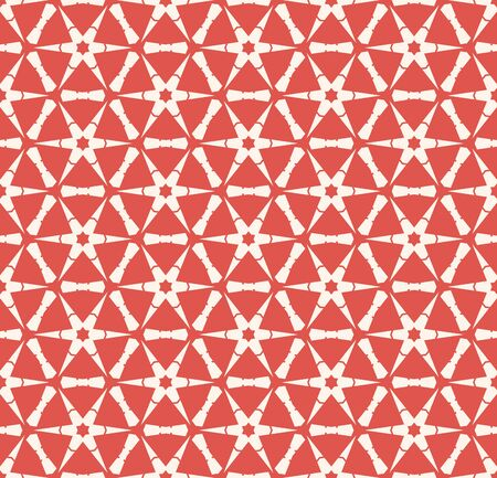 Vector abstract geometric seamless pattern with hexagonal grid, flower silhouettes, snowflakes, net, triangles, lattice, repeat tiles. Red and beige colored background. Simple ornamental texture