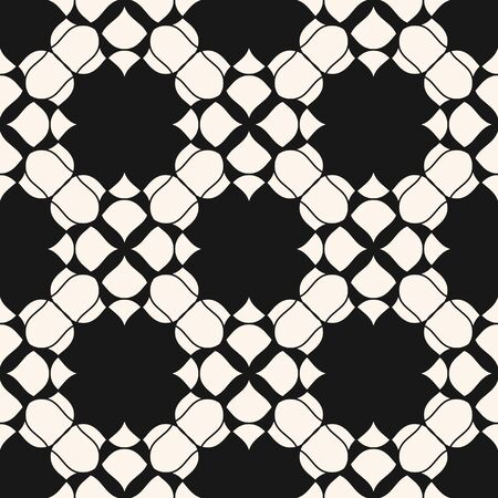 Black and white geometric floral seamless pattern. Vector abstract texture with curved shapes, flower silhouettes, mesh, lattice. Elegant monochrome ornament background. Repeatable design for decor