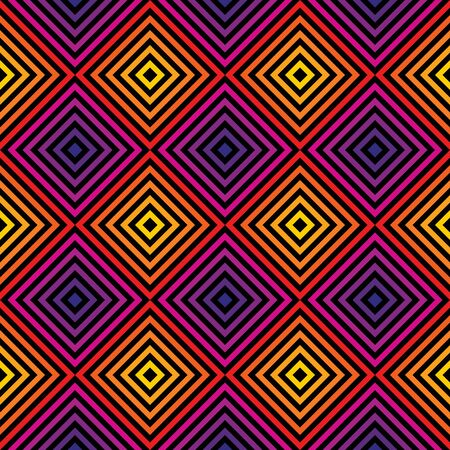 Vector rainbow seamless pattern. Graphic texture with diagonal lines, stripes, rhombuses, chevron. Retro 80-90's fashion style background in bright colors. Trendy abstract repeated geometric design