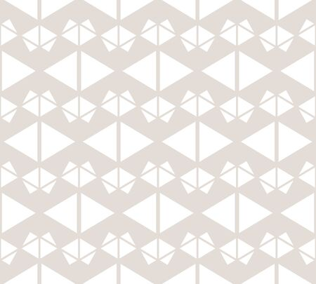 Triangles seamless pattern. Abstract geometric texture in beige and white colors. Subtle vector graphic background. Cute ornament with triangles, grid, net, lattice. Repeat design for decor, prints Vettoriali