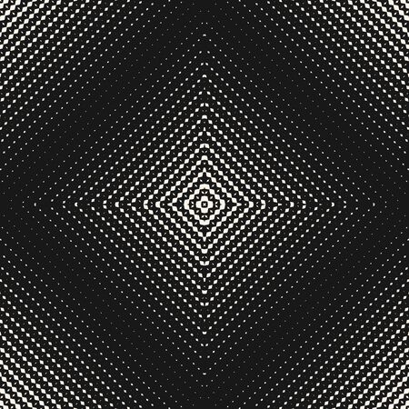 Vector halftone seamless pattern. Abstract graphic texture with grid, weave, lattice, squares, net. Radial gradient transition effect. Stylish black and white geometric background. Trendy design