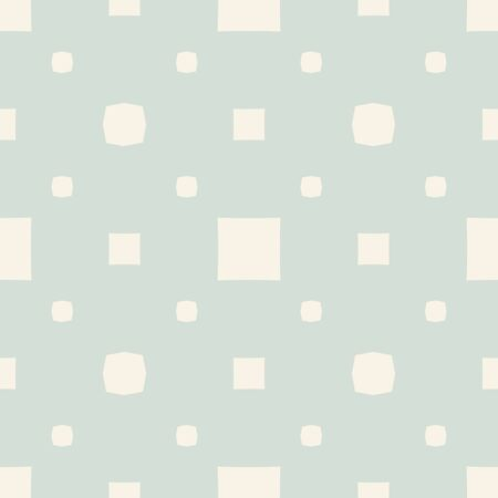 Vector geometric seamless pattern with small squares, dots. Subtle minimalist background in light green and beige color. Abstract minimal repeated texture. Vintage design for decor, fabric, wallpapers