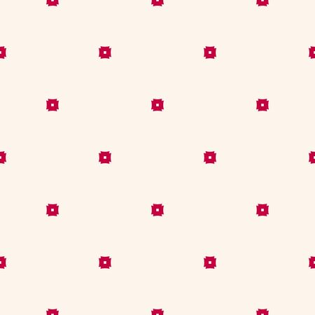 Subtle vector pattern with tiny red squares on beige backdrop. Simple minimalist geometric seamless texture. Stylish modern background. Minimal design for decor, textile, wrapping, gift paper, cloth