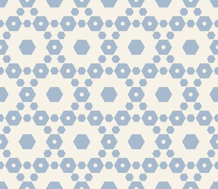Vector minimalist geometric seamless pattern with hexagonal lattice. Subtle white and blue hexagons texture, ornamental grid, mesh, net. Abstract repeat background. Winter season design for decoration Illusztráció
