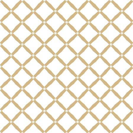 Golden grid texture. Vector abstract geometric seamless pattern with square mesh, net, lattice, diagonal lines. Elegant gold and white background. Simple graphic ornament. Luxury repeatable design