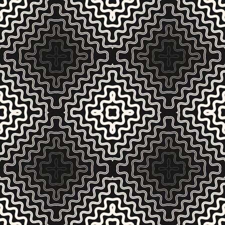 Vector abstract geometric seamless pattern with curved wavy fading lines, concentric halftone stripes. Trendy black and white graphic background. Optical art texture design. Dynamical ripple effect