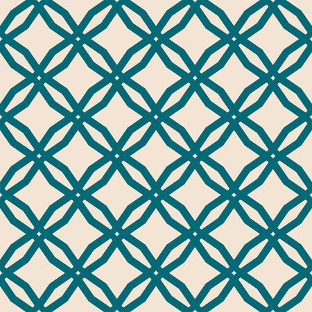Diamond grid pattern. Vector abstract floral seamless texture. Elegant background in teal and beige color. Simple geometric ornament with diamond shapes, rhombuses, mesh, net, lattice. Oriental design  イラスト・ベクター素材