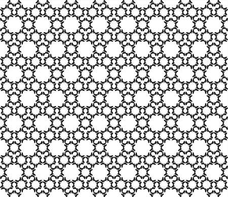 Vector monochrome seamless pattern. Simple abstract geometric repeat texture. Black and white endless background. Illustration with linear figures, hexagons, triangles. Stylish futuristic design
