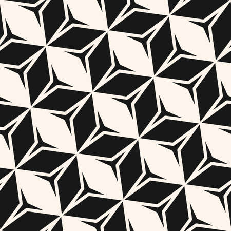 Vector monochrome geometric seamless pattern. Stylish black and white abstract geometric texture with rhombuses, diamonds, triangles, star shapes, diagonal grid. Simple geo background. Repeat design