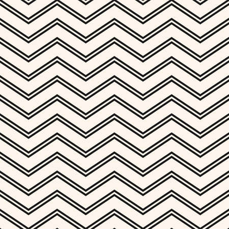 Vector chevron seamless pattern. Simple minimal texture with thin zigzag lines, stripes. Black and white abstract geometric background. Modern minimalist monochrome ornament. Subtle repeat design  イラスト・ベクター素材