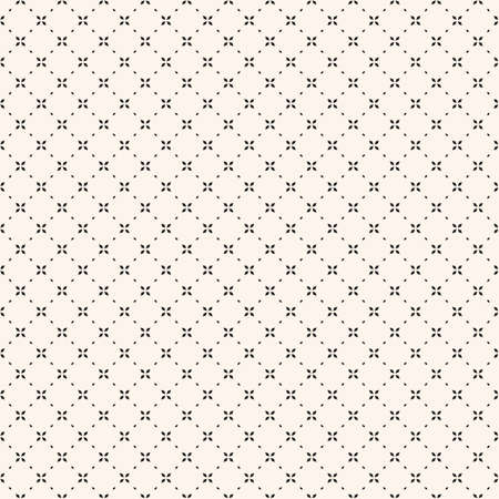Minimalist floral geometric seamless pattern. Simple vector black and white abstract background with small flowers, tiny crosses, grid, lattice. Subtle minimal monochrome texture. Repeat geo design  イラスト・ベクター素材