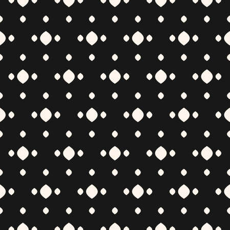 Vector polka dot seamless pattern. Simple minimalist black and white background with spots, dots, ovate shapes. Abstract minimal monochrome texture. Stylish dark design for decor, fabric, covers, web