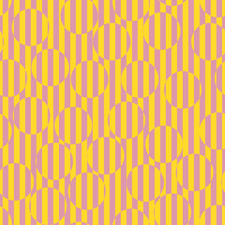 Vector colorful seamless pattern. Op art striped texture. Summer colors, pink and yellow. Creative psychedelic design with lines, circles. Retro 80-90's background. Optical illusion. Repeated design