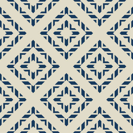 Vector geometric ornamental seamless pattern. Abstract texture with rhombuses, squares, triangles, diamonds, grid. Tribal ethnic motif. Folk style geometrical ornament. Dark blue and gray background Illusztráció