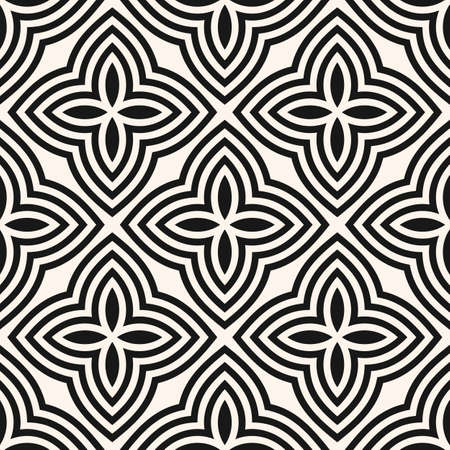 Vector floral seamless pattern. Abstract black and white geometric ornament with big flowers in oriental style. Elegant mosaic background. Simple monochrome ornamental texture. Repeatable design