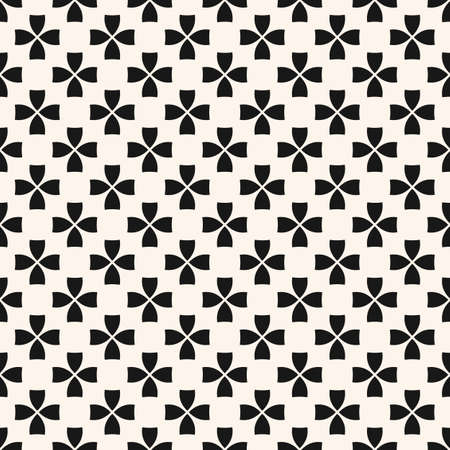Simple vector floral seamless texture. Black and white geometric pattern with small flower silhouettes. Abstract monochrome background. Minimalist repeat design for decor, wallpaper, fabric, clothing