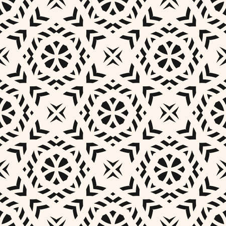 Vector monochrome seamless pattern. Black and white ornamental texture. Abstract mosaic background. Endless geometric ornament. Elegant repeat design for print, fabric, textile, decor, wallpapers