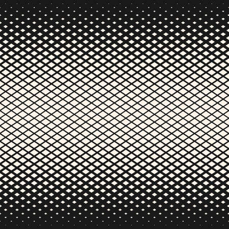 Vector halftone geometric seamless pattern with rhombuses, diamond shapes. Diagonal grid, mesh texture. Abstract monochrome background with gradient transition effect. Design for decor, prints, covers