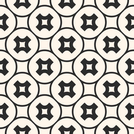 Vector crosses seamless pattern. Stylish monochrome geometric texture with smooth rounded crosses, circles, grid, lattice, repeat tiles. Modern abstract background. Design for decor, fabric, prints  イラスト・ベクター素材
