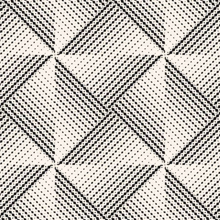 Vector geometric seamless pattern with halftone triangle tiles. Black and white abstract background with gradient transition effect. Monochrome texture. Asymmetric repeatable design for decor, print  イラスト・ベクター素材