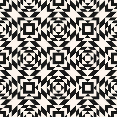 Vector geometric seamless pattern in traditional style. Tribal ethnic motif. Ornament with squares, triangles, rhombuses, grid. Abstract black and white texture. Monochrome repeat background. Op art  イラスト・ベクター素材